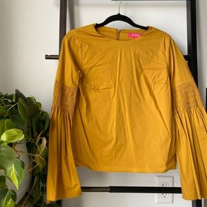 Smocked Bell Sleeve Blouse